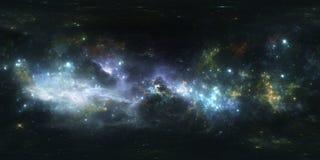 Проекция 360 Equirectangular Предпосылка космоса с межзвёздным облаком и звездами Панорама, карта окружающей среды Панорама HDRI  Стоковые Изображения