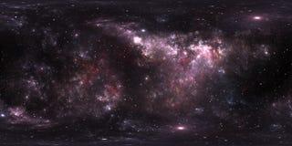 Проекция 360 Equirectangular Предпосылка космоса с межзвёздным облаком и звездами Панорама, карта окружающей среды Панорама HDRI  Стоковое Изображение RF