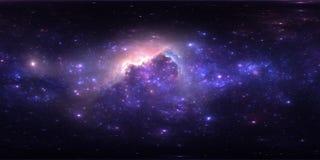 Проекция 360 Equirectangular Предпосылка космоса с межзвёздным облаком и звездами Панорама, карта окружающей среды Панорама HDRI  Стоковые Изображения RF