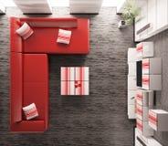 прожитие интерьера 3d представляет взгляд сверху комнаты Стоковое Изображение