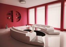прожитие интерьера 3d представляет комнату Стоковые Изображения