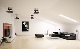 прожитие интерьера 3d представляет комнату Стоковые Фотографии RF
