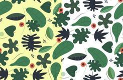 Прозрачная безшовная картина листьев Бесплатная Иллюстрация