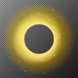 Прозрачная золотая круглая сияющая предпосылка рамки с isol светов Стоковое фото RF