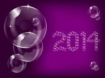 Прозрачная предпосылка 2014 пузыря мыла Стоковые Фотографии RF