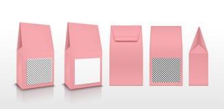 Прозрачная розовая упаковка пластмассы или бумаги Саше для чая, кофе, помадок, печений и подарка иллюстрация штока