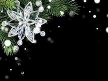 Прозрачная снежинка на ветви ели Стоковые Изображения RF