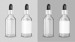 Прозрачная стеклянная бутылка с капельницей для косметики и медицины иллюстрация вектора