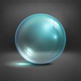 Прозрачная стеклянная сфера изолированная на checkered иллюстрации вектора предпосылки Стоковое фото RF