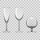 Прозрачное пустое вино, Шампань и стекло коньяка изолированное на белизне Стоковая Фотография