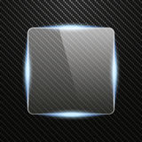 Прозрачное стеклянное знамя с световым эффектом на предпосылке углерода Стоковое Изображение RF