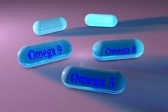 Прозрачные капсулы omega-3, omega-6 и omega-9 Капсулы рыб и постного масла Polyunsaturated жирные кислоты витамин Бесплатная Иллюстрация