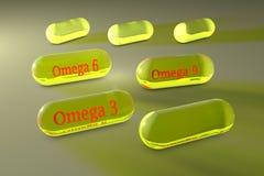 Прозрачные капсулы omega-3, omega-6 и omega-9 Капсулы рыб и постного масла Polyunsaturated жирные кислоты витамин Иллюстрация вектора