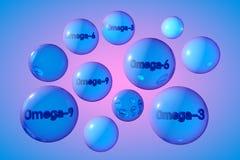 Прозрачные пилюльки omega-3, omega-6 и omega-9 сини Капсулы рыб и постного масла Polyunsaturated жирные кислоты Иллюстрация вектора
