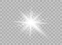Прозрачные светлые элементы на изолированной предпосылке Яркое отражение, пирофакел Светя звезда Ярко светить effulgence вектор иллюстрация штока