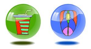 Прозрачные сияющие кнопки с нарисованными вручную изображениями на изолированной белой предпосылке иллюстрация штока