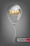 прозрачный воздушный шар 2018 сделанный из стекла на прозрачной предпосылке Элементы украшений рождества прозрачно Стоковое Изображение RF