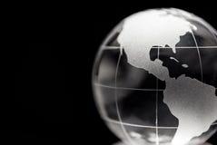 Прозрачный глобус с черной предпосылкой Стоковое Изображение RF