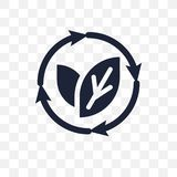 Прозрачный значок способный к возрождению Дизайн способный к возрождению символа от экологичности иллюстрация вектора