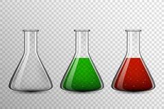 Прозрачный комплект шарика стекла для химической посуды, склянка вектора Стоковое Изображение