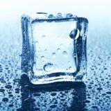 Прозрачный куб льда на синем стекле с падением воды Стоковое Изображение RF