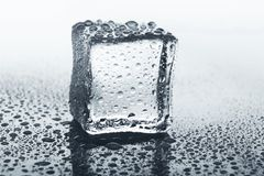 Прозрачный куб льда на стекле с водой падает Стоковое Изображение RF