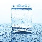 Прозрачный куб льда с отражением на белизне Стоковая Фотография RF