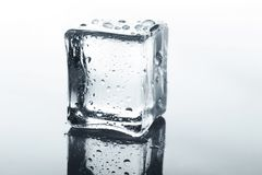 Прозрачный куб льда с отражением на белизне Стоковое Изображение RF