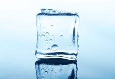 Прозрачный куб льда с отражением на синем стекле с водой падает Стоковая Фотография RF