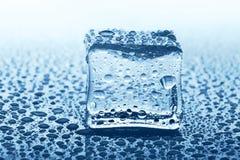 Прозрачный куб льда с отражением на синем стекле с водой падает Стоковые Изображения