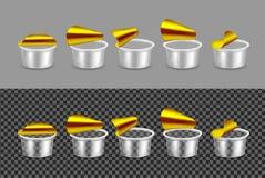 Прозрачный пустой пластмасовый контейнер для йогурта Open упаковывая д иллюстрация вектора