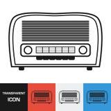 Прозрачный ретро значок радио Значок вектора на предпосылках разных видов иллюстрация штока