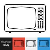 Прозрачный ретро значок телевидения Значок вектора на предпосылках разных видов иллюстрация вектора