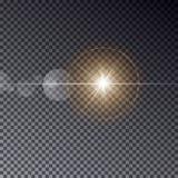 Прозрачный свет солнца вектора при bokeh изолированное на темном backgro Стоковая Фотография RF