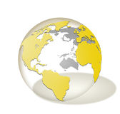 Прозрачный стеклянный изолированный глобус мира Стоковое фото RF