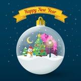 Прозрачный шарик рождества на синей предпосылке Vector иллюстрация для вебсайта, объявления, знамена Стоковые Фотографии RF