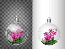Прозрачный шарик стекла с фиолетами внутрь Элементы украшений рождества Прозрачный объект вектора для дизайна, плана Стоковые Фото