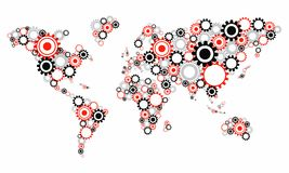 Прозрачный Cog катит карту мира Стоковая Фотография RF