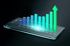 Прозрачный smartphone с красочной диаграммой дела на экране Стоковое фото RF