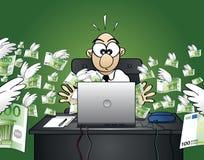 Проигрышные деньги на сети - версия евро Стоковые Изображения