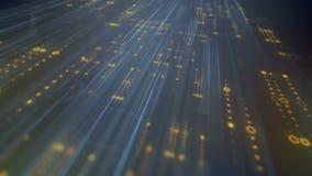 Произведенная компьютером высокотехнологичная анимация цифровой технологии предпосылка перевода 3D 4K, ультра разрешение HD иллюстрация штока