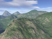 произведенный компьютером пейзаж горы Стоковые Фото