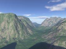 произведенный компьютером пейзаж горы Стоковая Фотография