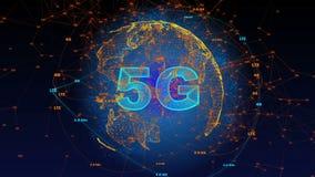 Произведенный компьютер, анимация технологии взаимодействия 5G иллюстрация вектора