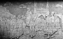 произведение искусства на стене общественного места показывая историю правителей Хайдарабада Стоковые Фото