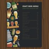 Произведите шаблон меню пива для бара и ресторана Стоковые Изображения RF