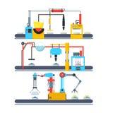 Производственная линия тортов транспортера фабрики автоматическая вектор иллюстрация штока