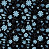Проиллюстрированная абстрактная безшовная флористическая предпосылка, голубая на черном b Стоковые Фотографии RF