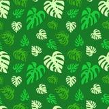 Проиллюстрированная безшовная абстрактная картина с зеленым monstera выходит иллюстрация вектора