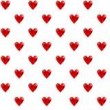 Проиллюстрированная безшовная картина с красными сердцами на белом backgrou Стоковое Изображение